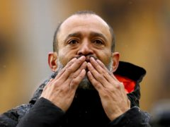 Wolves boss Nuno Espirito Santo blows kisses to the fans after Sunday's 2-1 loss to Manchester United, the final game of his tenure (Bradley Collyer/PA).