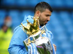 Sergio Aguero, pictured with the Premier League trophy on May 23, will join Barcelona on a two-year contract (Dave Thompson/PA)