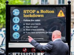 Coronavirus signage in Bolton town centre (Peter Byrne/PA)