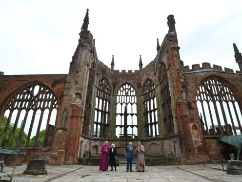 The couple were shown around the ruins (Paul Ellis/PA)