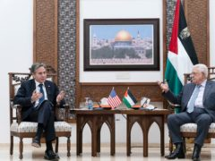 US secretary of state Antony Blinken listens during a joint statement with Palestinian president Mahmoud Abbas in the West Bank city of Ramallah. Alex Brandon/AP)