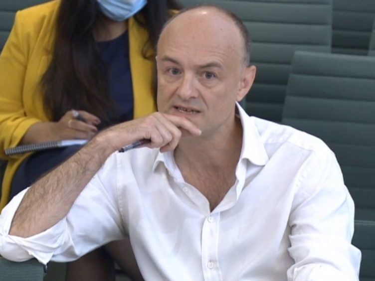 Dominic Cummings, former Chief Adviser to Prime Minister Boris Johnson, giving evidence to a joint inquiry of the Commons Health and Social Care and Science and Technology Committees (House of Commons)