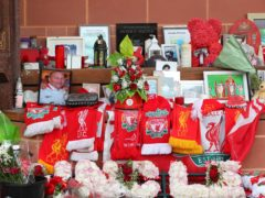 Flowers and tributes left at the Hillsborough Memorial outside Anfield stadium, Liverpool, following the collapse of the Hillsborough trial (Peter Byrne/PA)