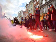 Villarreal fans with flares in Gdansk (Rafal Oleksiewicz/PA)