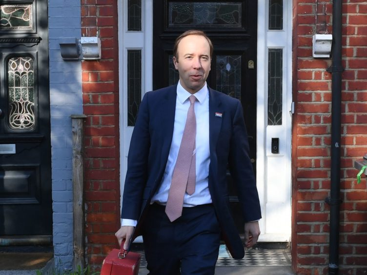 Health Minister Matt Hancock outside his home in north-west London on Thursday morning (Stefan Rousseau/PA)