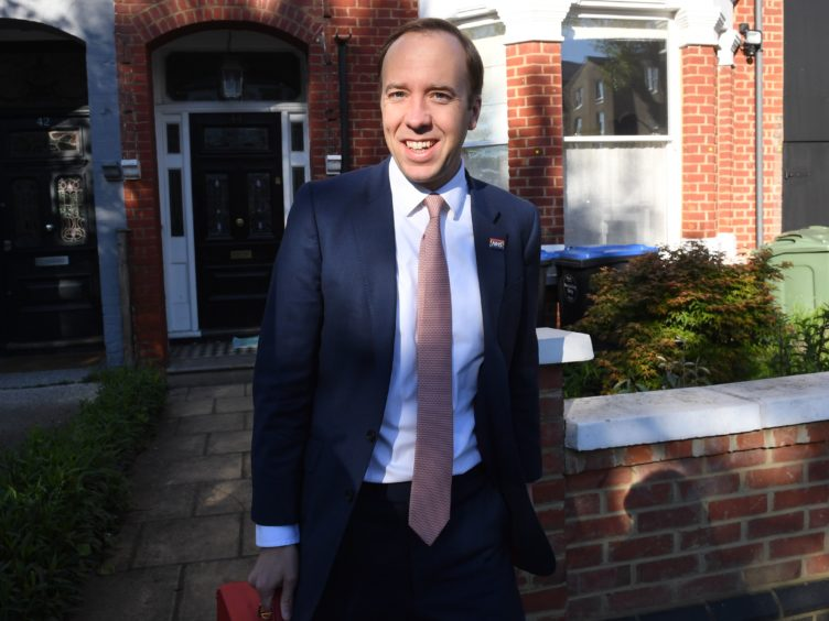 """Health Minister Matt Hancock outside his home in north-west London, ahead of an appearance in the House of Commons to answer an urgent question over allegations made by former senior No 10 aide Dominic Cummings that he lied to colleagues and performed """"disastrously"""" during the Covid pandemic (Stefan Rousseau/PA)"""