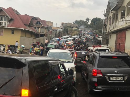 Traffic clogs a main road as residents try to flee Goma in the Democratic Republic of Congo (Moses Sawasawa/AP)