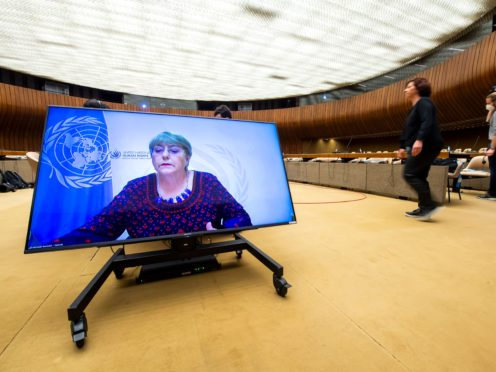 UN High Commissioner for Human Rights Michelle Bachelet delivers a speech virtually during a special session on Monday (Martial Trezzini/Keystone/AP)