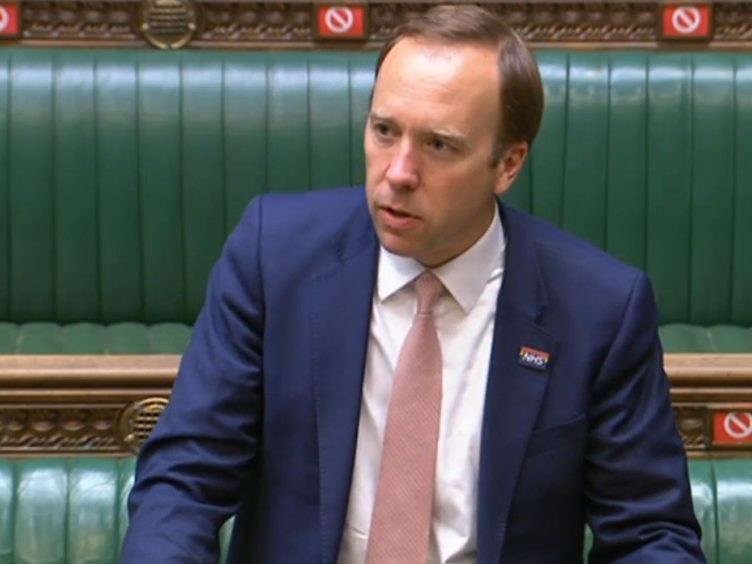 Matt Hancock in the House of Commons answering an urgent question over allegations made by former senior No 10 aide Dominic Cummings (House of Commons/PA)
