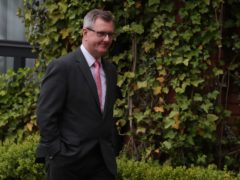 Lagan Valley MP, Sir Jeffrey Donaldson, arriving for the DUP meeting to ratify Edwin Poots as new leader of the party at the Ramada Hotel in Belfast (PA)