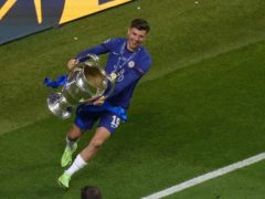 Chelsea's Mason Mount celebrates with the trophy (Adam Davy/PA)
