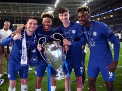 Ben Chilwell, Reece James, Kai Havertz and Tammy Abraham with the trophy (Nick Potts/PA)