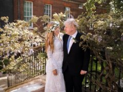 Prime Minister Boris Johnson and Carrie Johnson in the garden of 10 Downing Street after their wedding on Saturday (Downing Street/PA)
