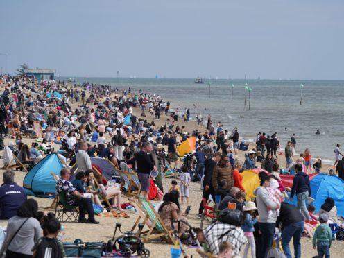 Busy scenes on Southend beach (Joe Giddens/PA)
