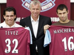 Carlos Tevez, left, and Javier Mascherano, right, joined West Ham in 2006 when the club were managed by Alan Pardew (Sean Dempsey/PA)