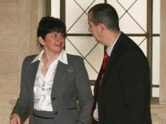 Arlene Foster and her DUP colleague Edwin Poots (Niall Carson/PA)
