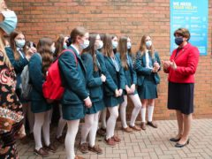 First Minister Arlene Foster during a visit to Banbridge Academy school in Co Down (Kelvin Boyes/Press Eye/PA)