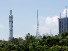 A Long March-7 carrying a Tianzhou-2 cargo spacecraft is moved to the launch area at the Wenchang Spacecraft Launch Site in southern China's Hainan Province (Guo Wenbin/Xinhua via AP)