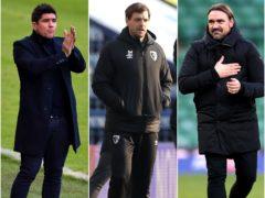 Can Jonathan Woodgate, centre, and Bournemouth make history alongside Watford under Xisco Munoz, left, and Daniel Farke's Norwich? (Simon Galloway/Martin Rickett/Nigel French/PA)
