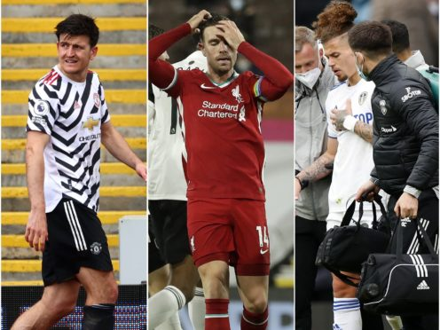 Harry Maguire, Jordan Henderson and Kalvin Phillips, l-r, are among the fitness doubts making England's selection decisions difficult (Michael Steele/Paul Ellis/Lynne Cameron/PA)