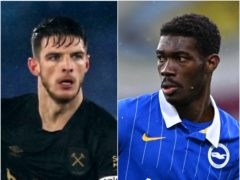 Declan Rice and Yves Bissouma (Steven Paston/Laurence Griffiths/PA)
