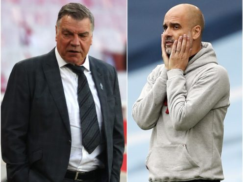 Sam Allardyce, left, was relegated with West Brom while Pep Guardiola and Manchester City must wait to clinch the title (Richard Heathcote/Martin Rickett/PA)