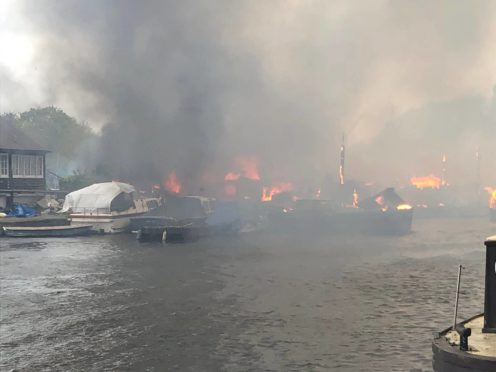 The fire at Platt's Eyot island (Dr Dominique Bouchard/PA)