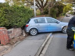 The suspect's crashed car (Hampshire Constabulary/PA)