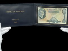 Rare banknotes, including a £5 presented to former Prime Minister Harold Macmillan in 1957, are being auctioned next week (Dix Noonan Webb/PA)