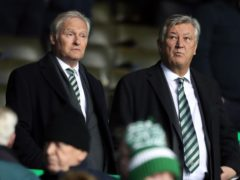 Celtic chairman Ian Bankier (left) and outgoing chief executive Peter Lawwell have welcomed Ange Postecoglou to Parkhead (Andrew Milligan/PA)