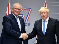 Prime Minister Boris Johnson meets Australian Prime Minister Scott Morrison (Neil Hall/PA)