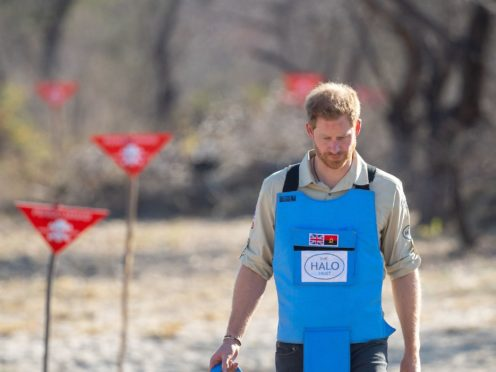 The Duke of Sussex during a visit to a minefield in Dirico, Angola, to see the work of landmine clearance charity Halo Trust in 2019 (Dominic Lipinski/PA)
