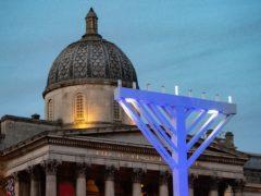 A general view of the Trafalgar Square menorah during the annual Menorah Lighting Ceremony in London to mark Chanukah (Dominic Lipinski/PA)