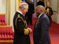Celebrity cook Ainsley Harriott was made an MBE by the Prince of Wales during an investiture ceremony at Buckingham Palace in March 2020 (Dominic Lipinski/PA)