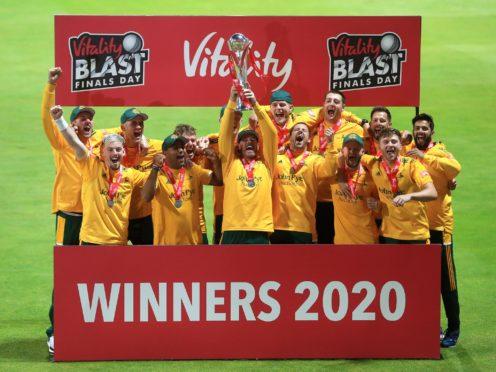 Nottinghamshire Outlaws won the Vitality Blast in 2020 (Mike Egerton/PA)