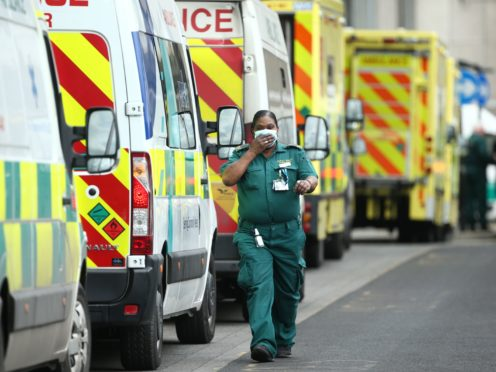 Ambulances outside the Royal London Hospital in London in January, during the second wave of the virus (Yui Mok/PA)