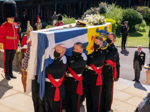 The Duke of Edinburgh's coffin being carried into the chapel (Arthur Edwards/The Sun/PA)