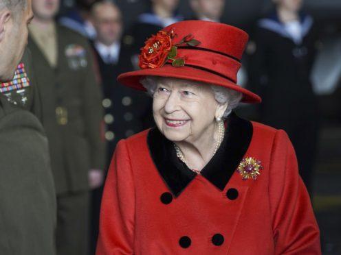 The Queen on HMS Queen Elizabeth (Steve Parsons/PA)