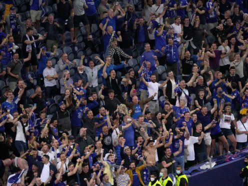 Chelsea fans celebrate in the stands after the Uefa Champions League final match held at Estadio do Dragao in Porto, Portugal (Adam Davy/PA)