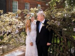 Boris and Carrie Johnson in the garden of 10 Downing Street after their wedding on Saturday (Rebecca Fulton/PA)