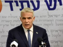 Chairman of the Yesh Atid Party, Yair Lapid (Debbie Hill/Pool via AP)