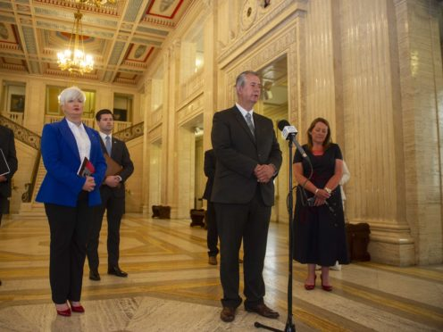 DUP leader Edwin Poots holds a press conference at Stormont buildings in Belfast (Mark Marlow/PA)