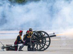 The King's Troop Royal Horse Artillery fire a 21 gun salute at Royal Artillery Barracks in Woolwich (Dominic Lipinski/PA)