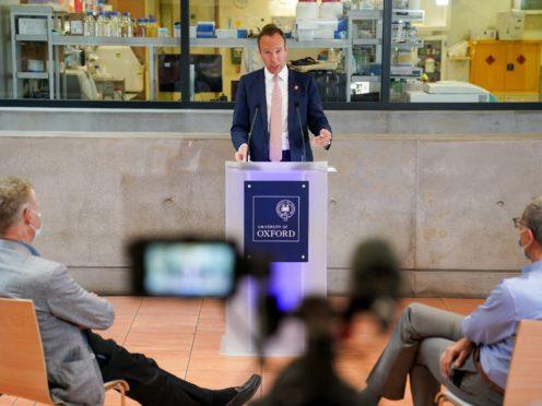 Health Secretary Matt Hancock delivers a speech (PA)