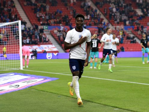 Bukayo Saka scored his first England goal in the win over Austria last week (Lindsey Parnaby/PA)