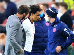 England manager Gareth Southgate and Trent Alexander-Arnold (Lindsey Parnaby/PA)