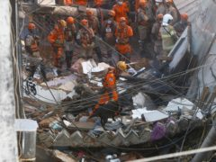 Firefighters use a sniffer dog to search for possible survivors after a building collapsed in Rio (Bruna Prado/AP)