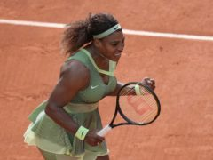 Serena Williams celebrates her third-round win against fellow American Danielle Collins at this year's French Open (Christophe Ena/AP)