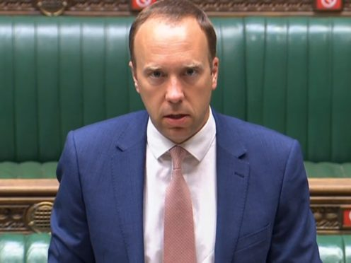 Health Secretary Matt Hancock makes a statement to the House of Commons in Westminster, London, about the Covid-19 pandemic (House of Commons/PA)