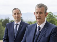 Edwin Poots (right) at Stormont with First Minister designate Paul Givan (Liam McBurney/PA)